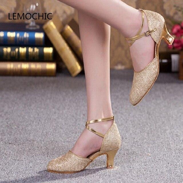 LEMOCHIC tap jazz salón de baile latino zapatos de baile para mujer kitten  heel glitter zapatos 3fec1e5c0a50
