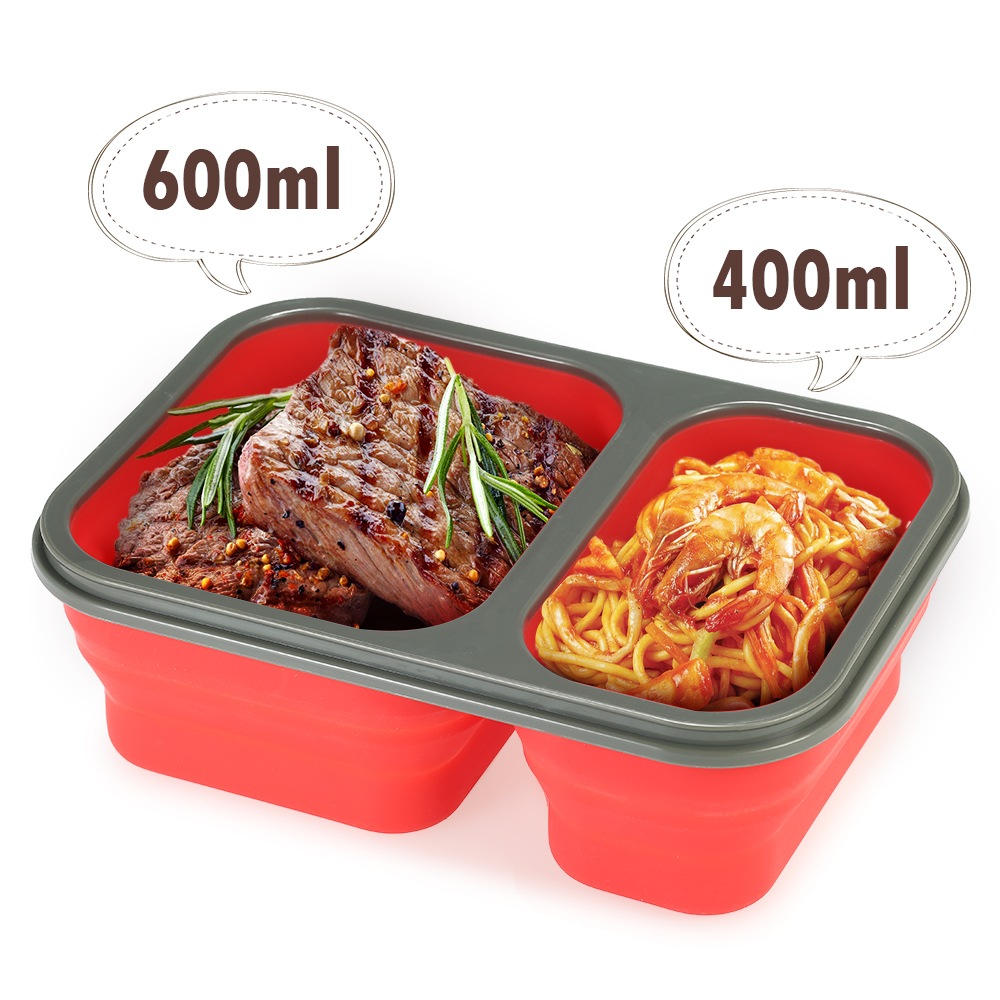 1000ml silicone bento boxs collapsible lunch boxs 2 cell bowl bento boxes folding food storage for Bento lunch box isotherme