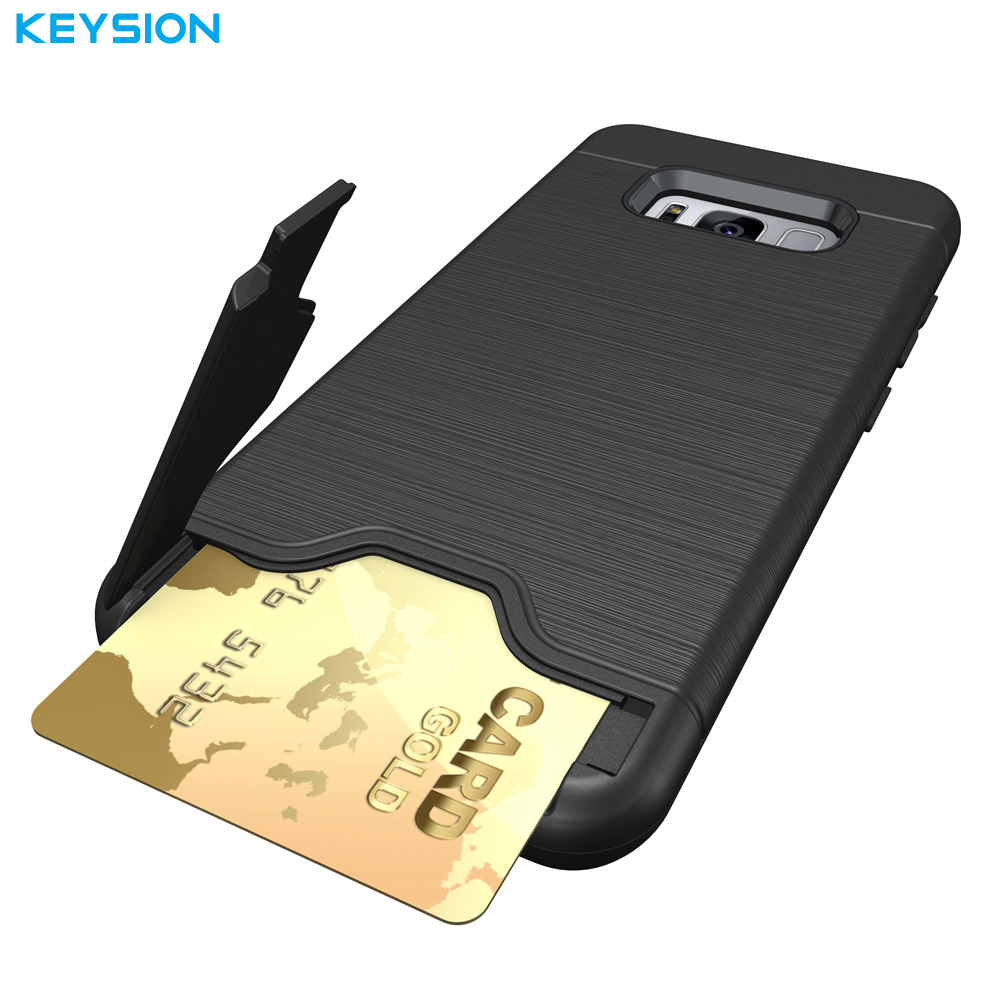 003bfab4a851d1 KEYSION Case For Samsung Galaxy S8 S8 Plus PC+TPU Anti Shock Impact Brushed  Texture Stand Card Slot Cover For Samsung s7 S7 Edge