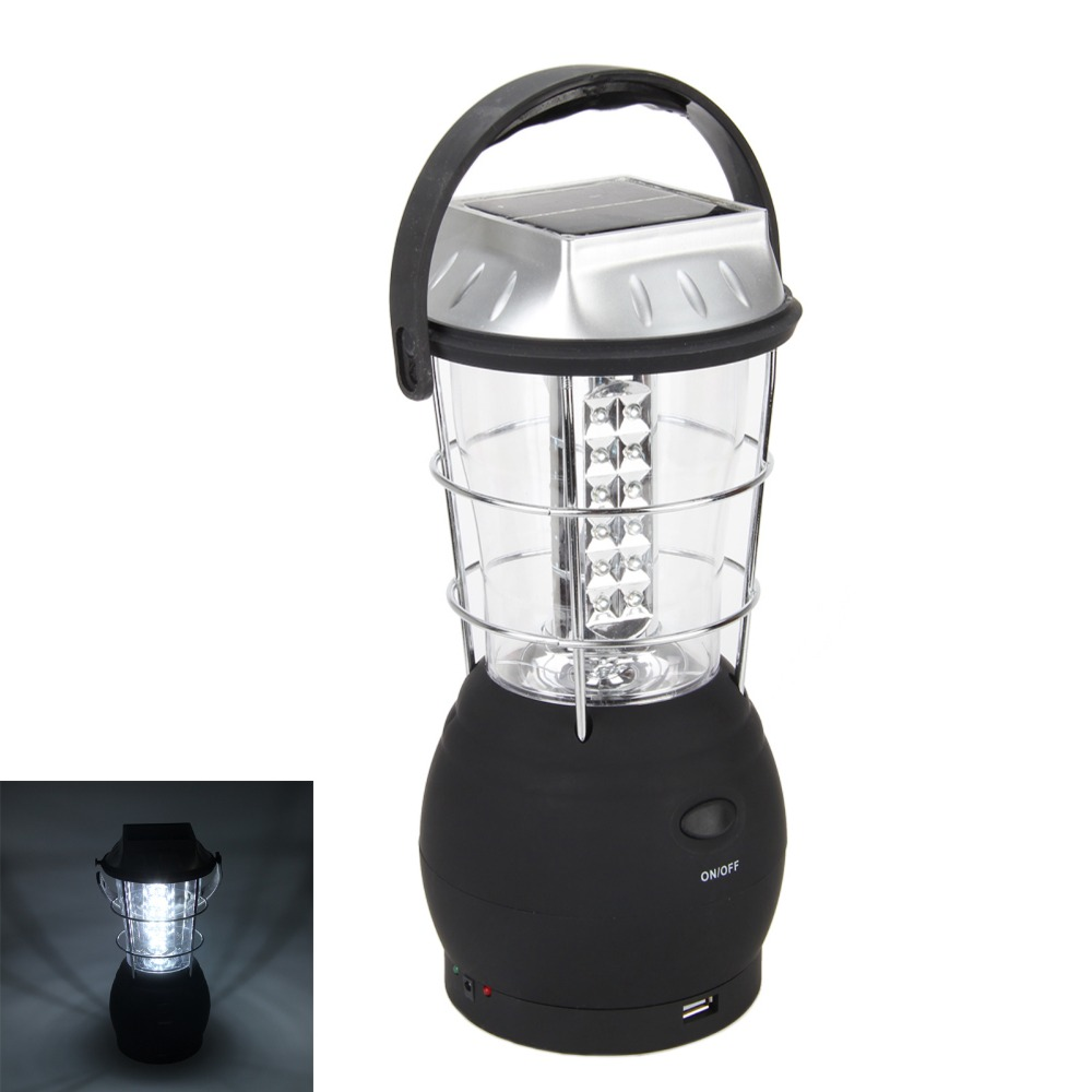 Solar 36 LED Hand Crank Dynamo Bright Lantern Outdoor Fishing Camping Tent Light