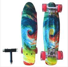 22 inches Lange Skate Board Patroon Skateboard Lange Boord Penny Board Patins Single Rocker Loadbearing Met Stralende Wiel