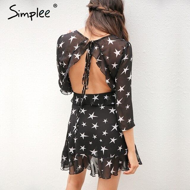 Simplee выдалбливают Boho пляж летнее платье женщина 2017 на шнуровке спинки рюшами сексуальное платье короткое шифоновое звезда черное платье vestidos