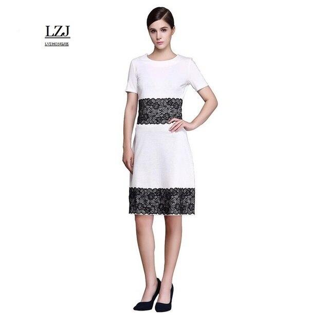 LZJ 2017 summer new girl dress vestidos fashion O collar lace decoration female  work pencil dress plus size vestido de festa L3 ade3ef11369f