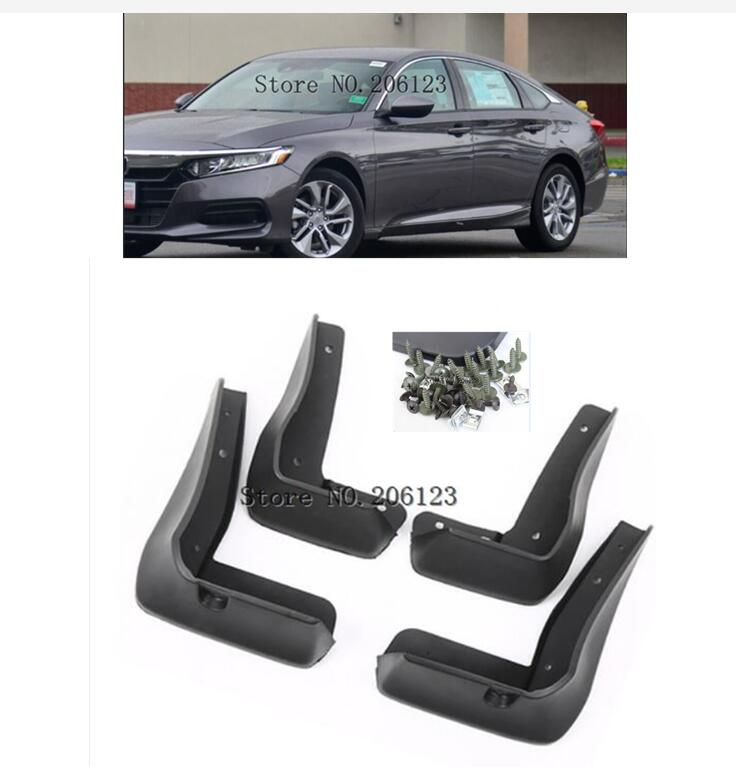 OE Styled Set Molded Car Mud Flaps For <font><b>Honda</b></font> <font><b>Accord</b></font> <font><b>2018</b></font> 2019 4-Dr Sedan Mudflaps Splash Guards Mud Flap Mudguards <font><b>Accessories</b></font> image