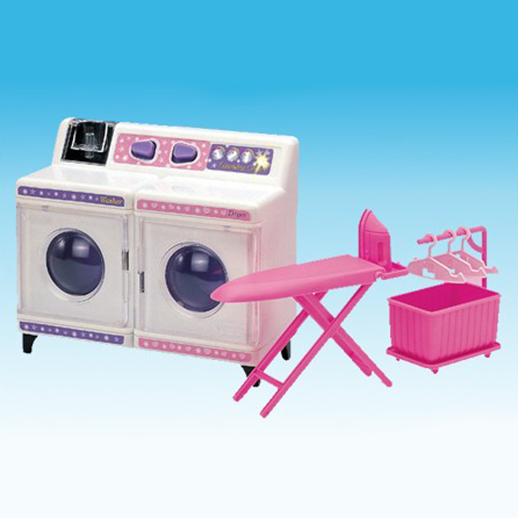 Plastic Washing Machine Play Set Home Appliances and Accessories for Barbie Doll House Kids Pretend Play Toys haggard h she