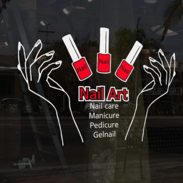 Nail Polish Vinyl Wall Sticker Bar Hands Manicure Art Sign Decal Beauty Salon