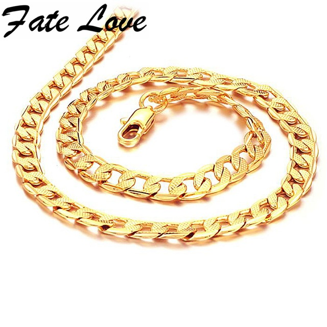 Fate Love New Collection Men Classial Style Gold Color Necklace Classic Thick Chain 7mm Width Man Punk Party Jewelry Gift FL441