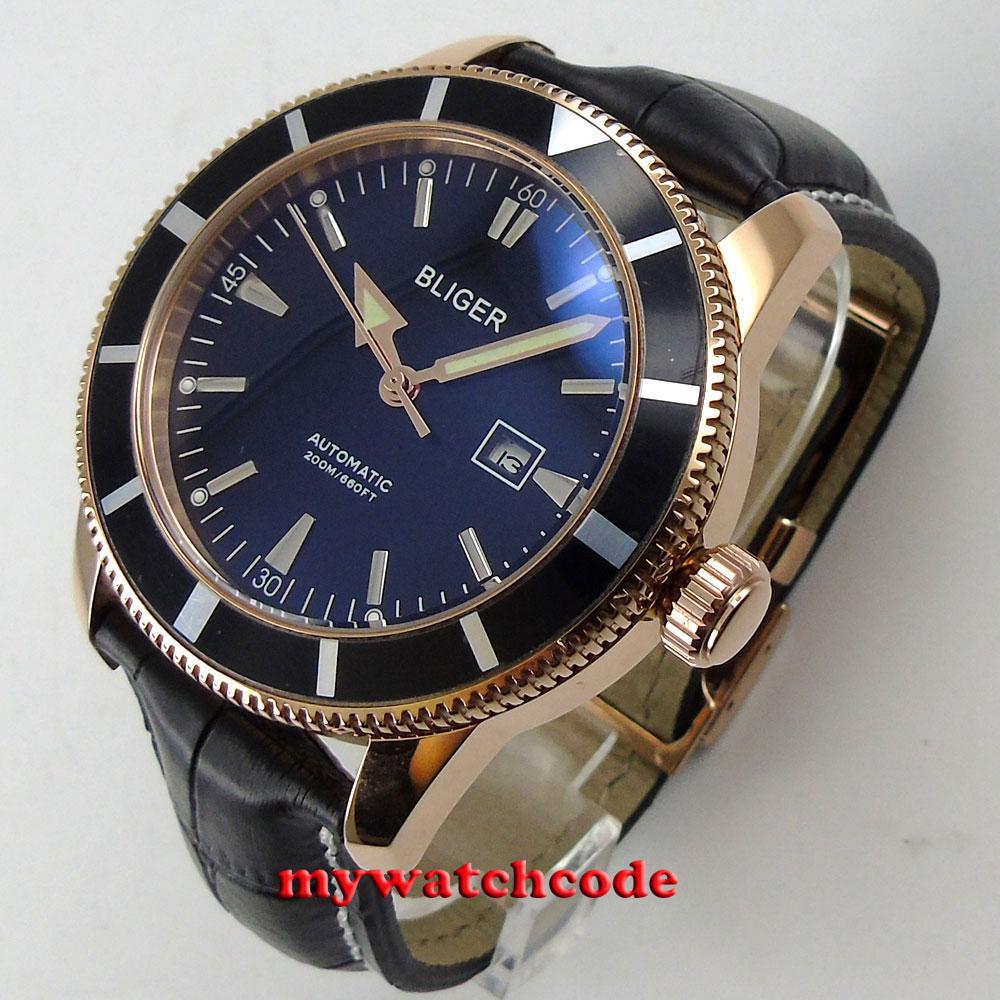 46mm bliger schwarz zifferblatt rose goldene fall schwarz lünette automatische herren uhr B116-in Mechanische Uhren aus Uhren bei  Gruppe 1