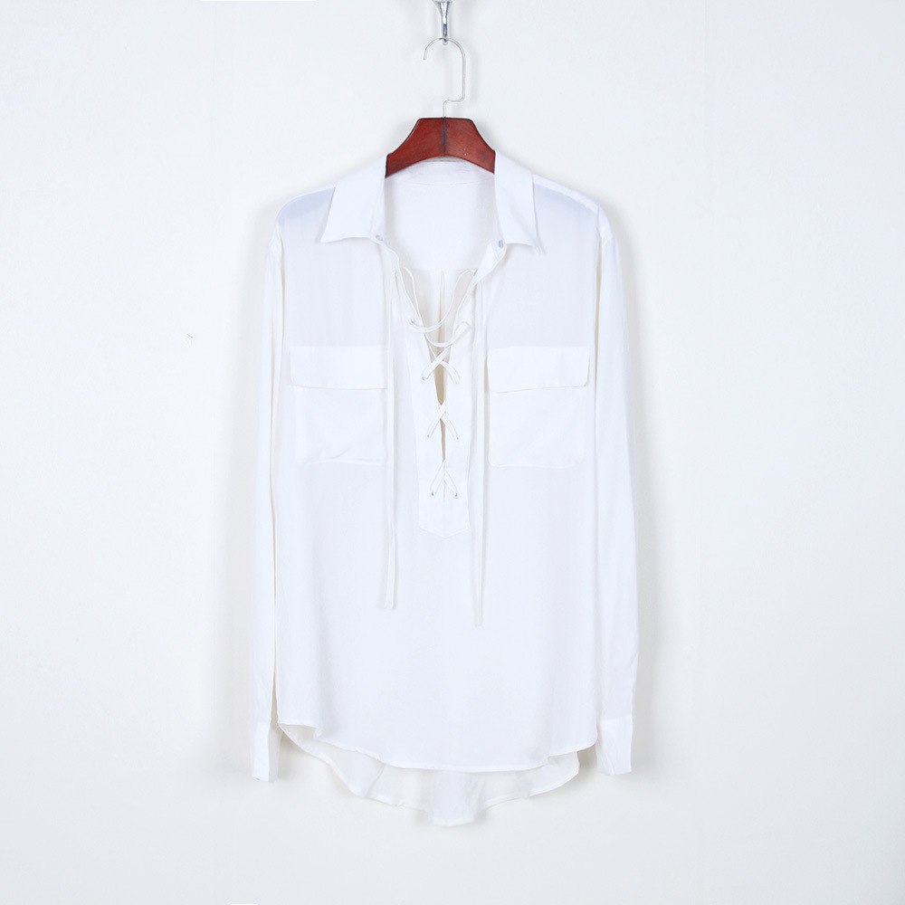 100% silk   blouse     shirt   blusas for women natural silk lace up chiffon   blouse     shirt   blusas white black oversized large size