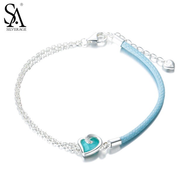 bc1b3205b8af Fine Jewelry Echt 925 Sterling Silber Schmuck Für Frauen Blau Herz Armband  Blau Leder Kette Silber