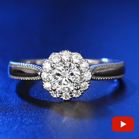 NOT FAKE Round Cut S925 Sterling Silver Ring SONA Diamond solitaire Fine Ring Unique Style Love Wedding Flower Style