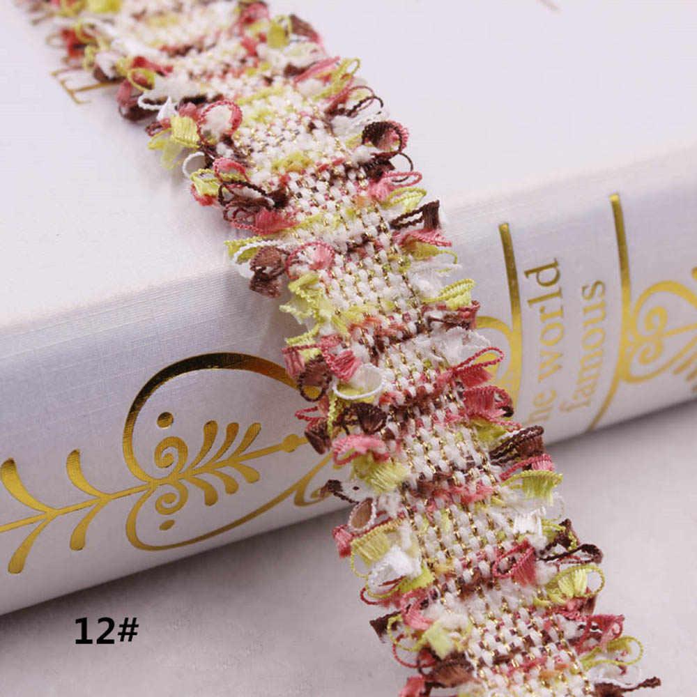 1 yarda Vintage Nylon dorado bordado encaje cinta tela hecha a mano DIY disfraz vestido decorativo suministros de costura artesanías