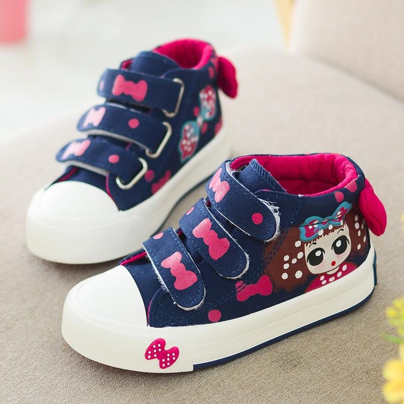 2017 frühjahr neue kinder shoes, atmungsaktive leinwand mädchen shoes, chaussure enfant, tragbare hohe turnschuhe für mädchen kinder shoes