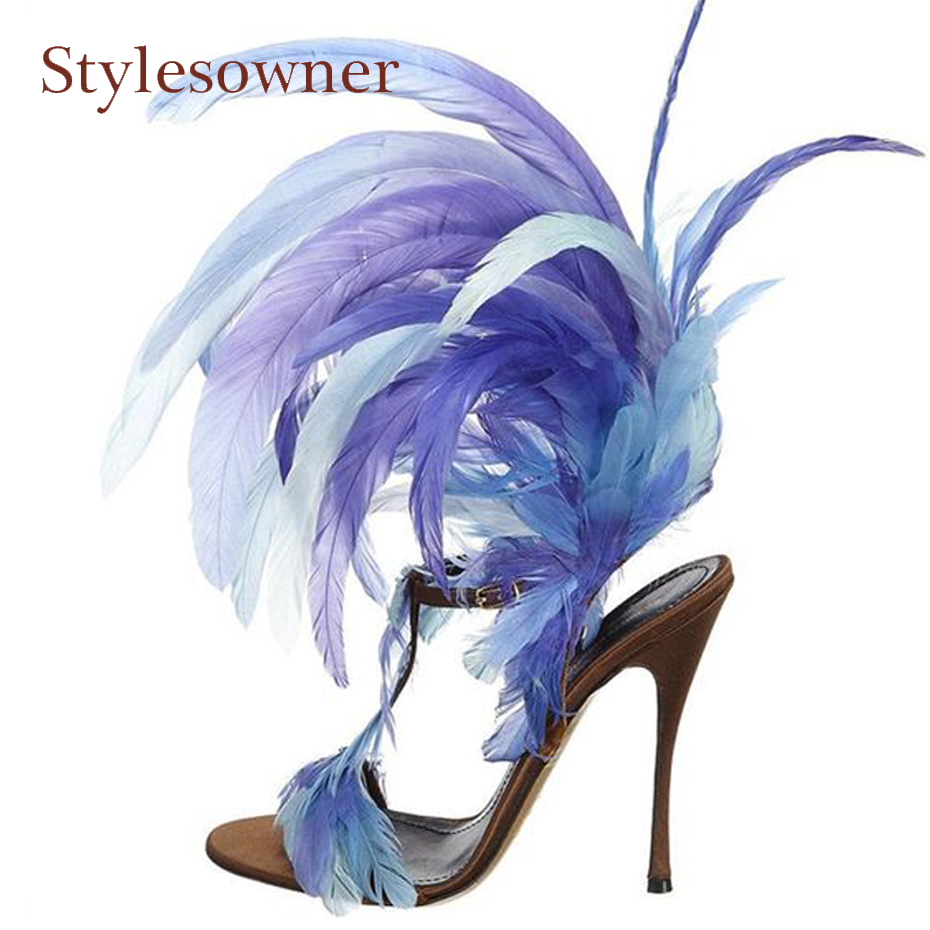 Stylesowner new design feather thin high heel sandals women open toe t strap buckle strap summer shoes lady runway style shoes trendy splicing women s sandals with t strap and bowknot design