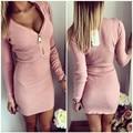 2017 Spring Autumn Vestidos zipper deep V neck knitting dress long sleeve Hip cover crochet one-piece clothes dress