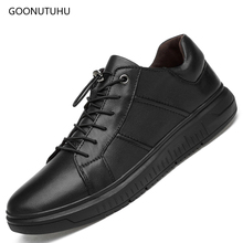 Fashion men's shoes casual platform breathable black shoes for men  cow leather genuine loafers male slip-on shoe man size 38-44 цена