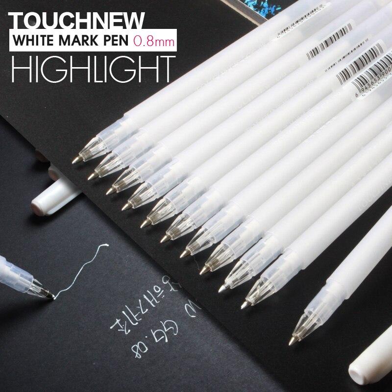 3Pcs TOUCHNEW 0.8mm White Highlighter Art Markers Gel Pen Sketch Fine Liner Pen Scribble Pen Paint Design Art Supplies