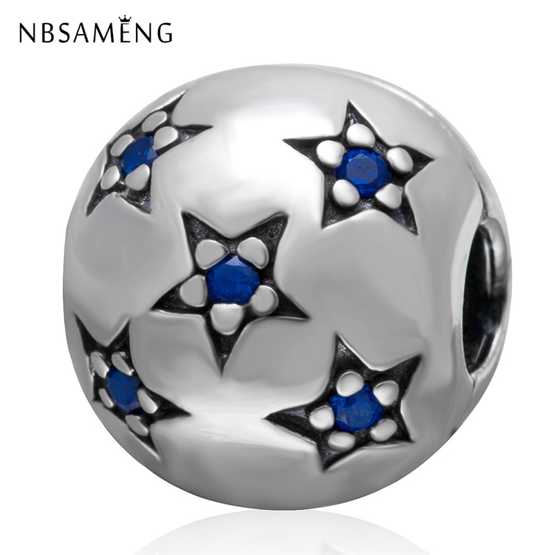 New 100% 925 Sterling Silver Star Clip Safety Stopper Beads Clear CZ Fit Original Pandora Charm Bracelet Fashion DIY Jewelry