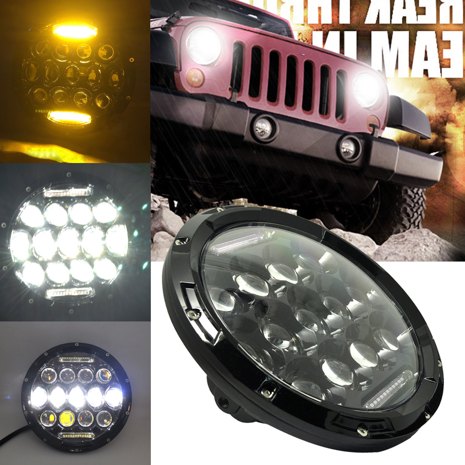 7inch Round 75W LED Headlight Yellow DRL Hi/Lo Beam for JEEP Wrangler JK DXY88 windshield pillar mount grab handles for jeep wrangler jk and jku unlimited solid mount grab textured steel bar front fits jeep