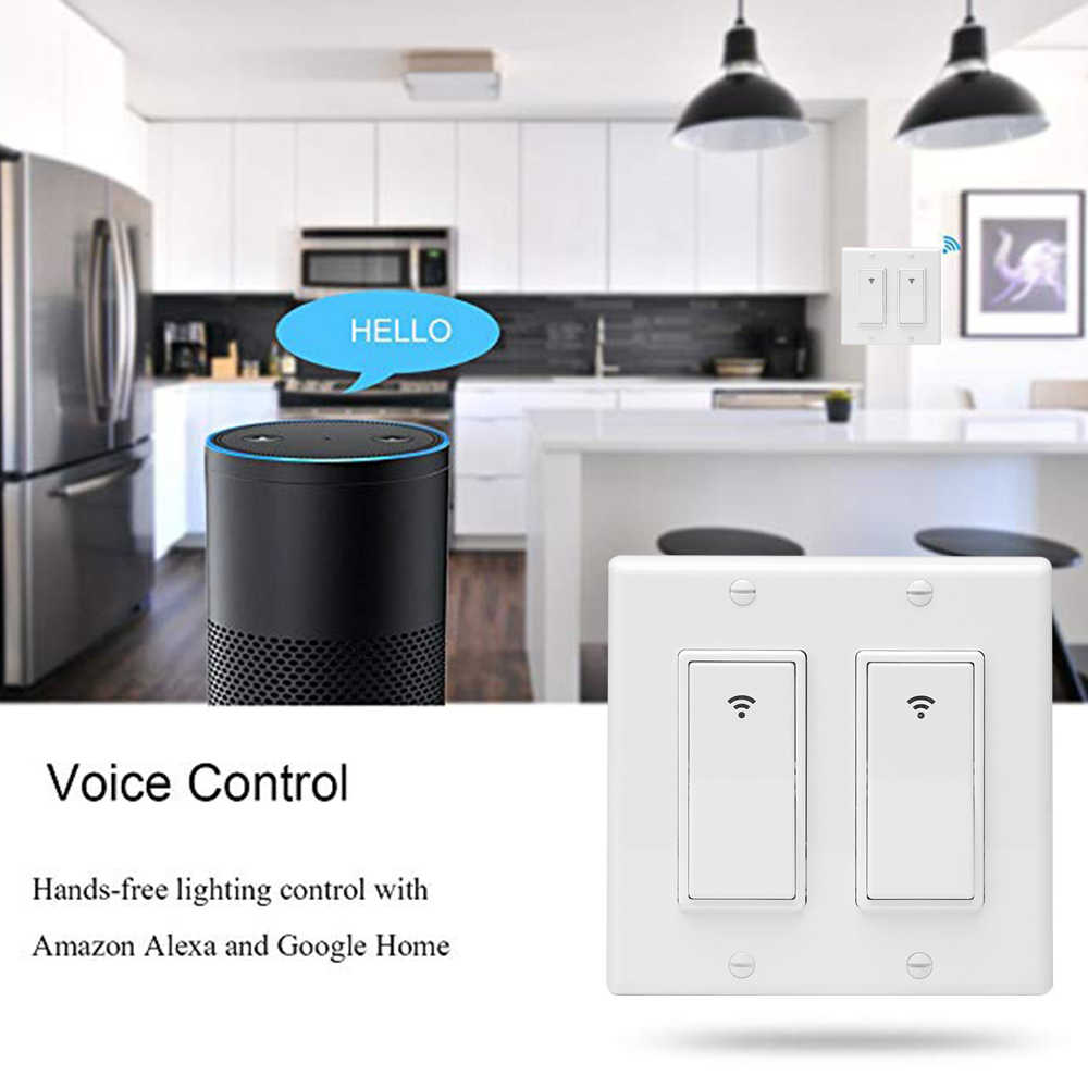 WiFi Smart Wall Light Switch Timing Function Suit for 1/2/3 Gang Switch Box Works with Alexa Google Home US Version