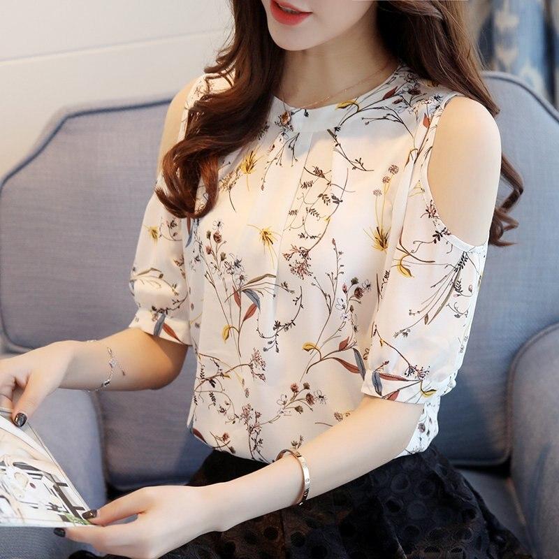 2018 Chiffon Print Blusas Floral Shirt Für Frauen Elegante Offene Schulter Blusen Frauen Ete Plus Größe Weibliche Tops Strukturelle Behinderungen