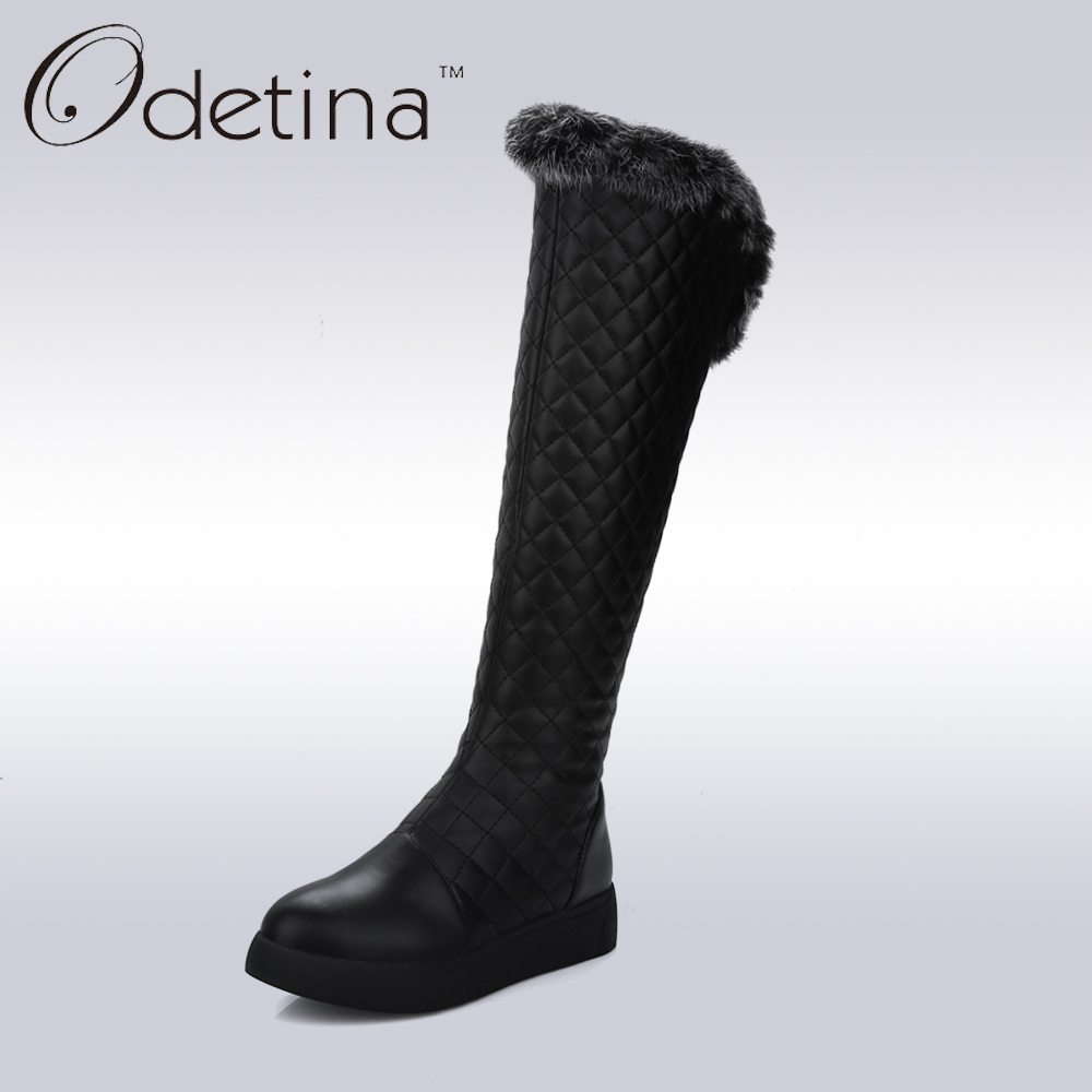 Odetina Fashion Rabbit Fur Shaft Snow Boots Large Size Platform Knee High Boots Non-slip Women 2016 Warm Long Boots with Plush