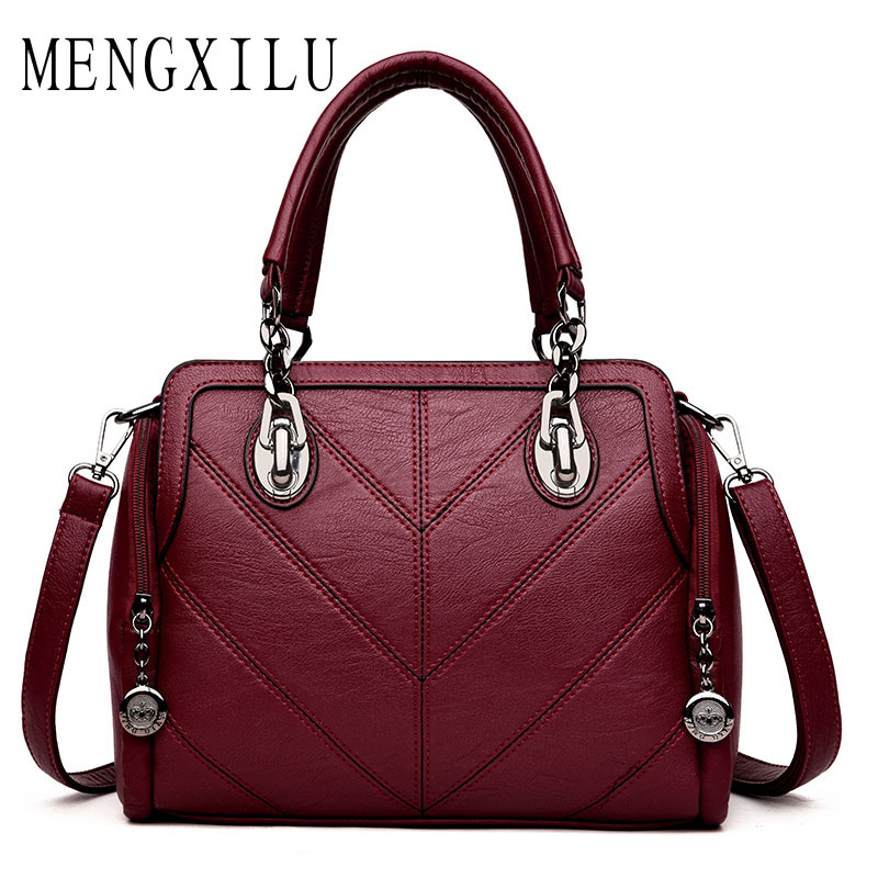 MENGXILU Brand Luxury Handbags Women Bags Designer PU Leather Handbags High Quality Chain Ladies Shoulder Bags Double Zipper Sac mengxilu brand tote luxury handbags women bags designer handbags high quality pu leather bags women crossbody bag ladies new sac
