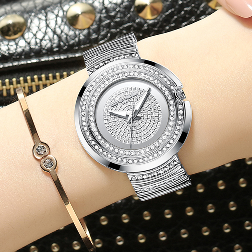 2018 Womens Rhinestone Casual Analog Quartz WristWatches with Stainless Steel Band CRRJU ladies crystal Gift clock jam tangan2018 Womens Rhinestone Casual Analog Quartz WristWatches with Stainless Steel Band CRRJU ladies crystal Gift clock jam tangan