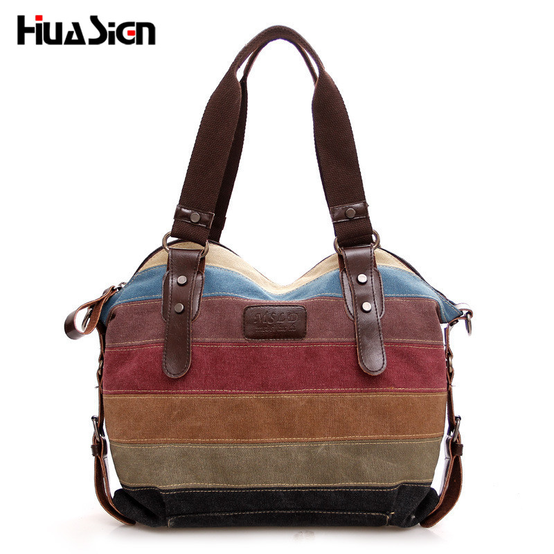 Fashion Women Stripe Handbag Canvas Shoulder Bag Messenger Crossbody Bags Satchel Hit Color Striped Casual Tote