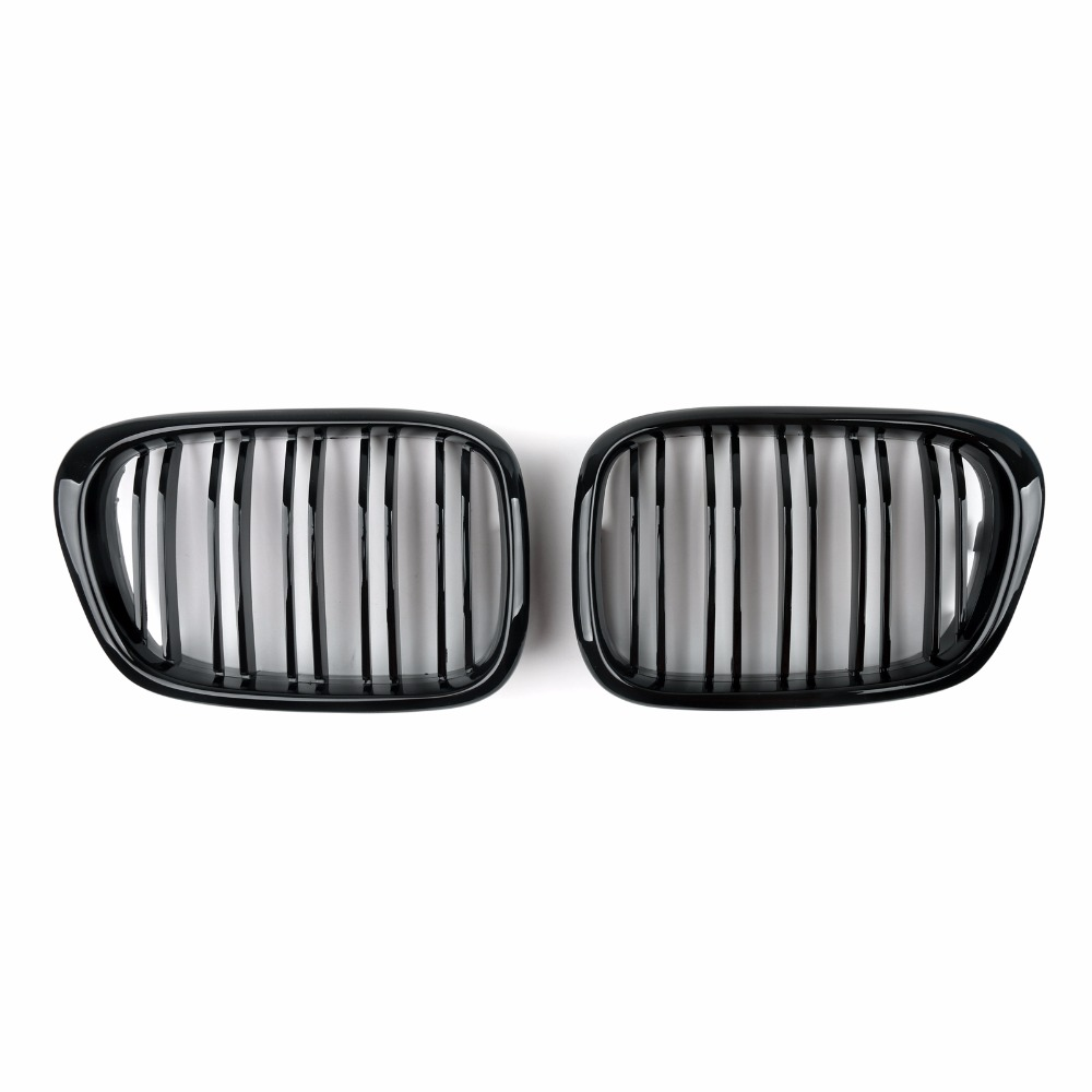 Areyourshop Car Front Kidney Grille Double Grille For BMW 5 Series E39 2001 2004 Gloss Black