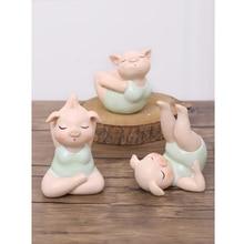 NEW Creative Animal Yoga pig cute miniature Figurine resin Crafts teraryum fairy garden miniatures Mini home decor accessories