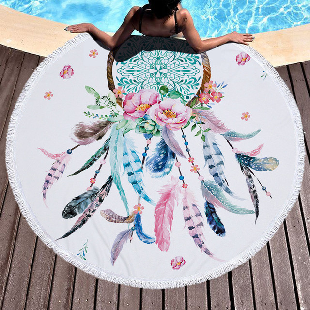 XC USHIO Dream Catcher Round Beach Towel With Tassels 450g Soft Microfiber 150cm Summer Swimming Picnic Blanket Wall Tapestry