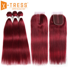Burgundy Red Brown Color Straight Human Hair Weave 3/4 Bundles With Lace Closure X-TRESS Brazilian Non Remy Hair Weft Extensions(China)