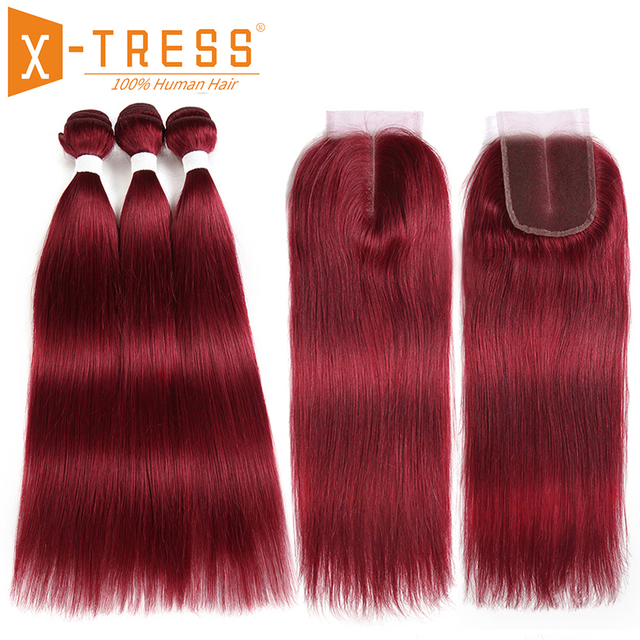 Burgundy Red Brown Color Straight Human Hair Weave 3/4 Bundles With Lace Closure X-TRESS Brazilian Non Remy Hair Weft Extensions