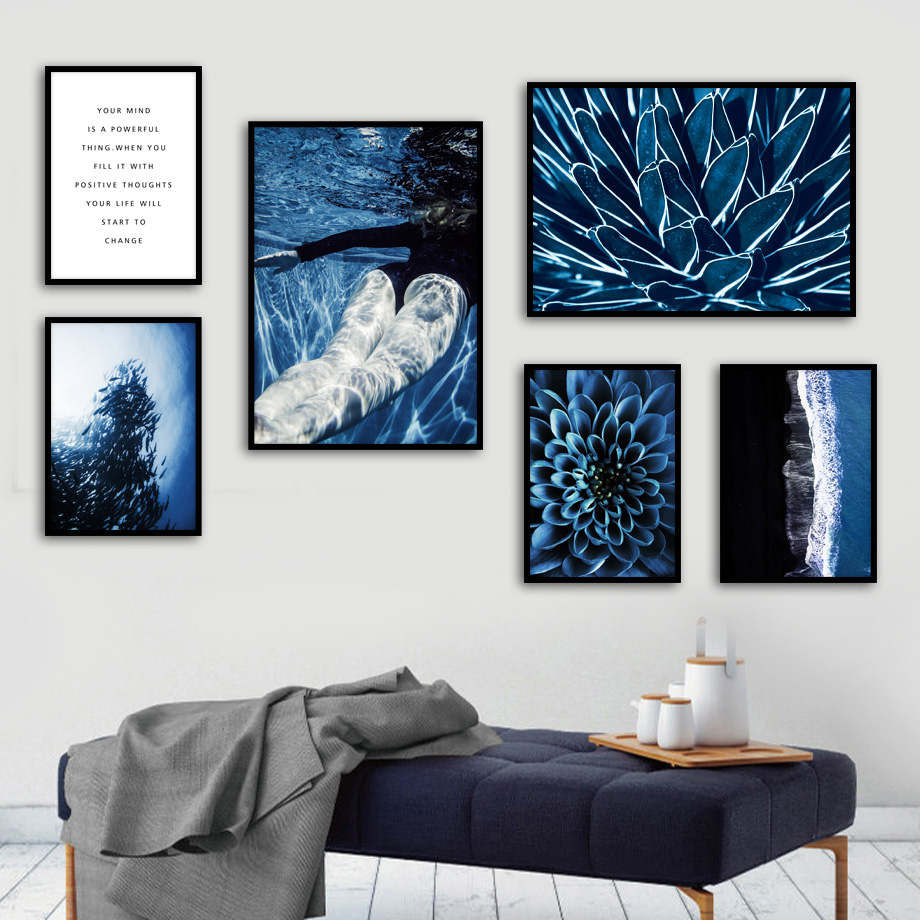 Blue Sea Fish Flower Girl Swimming Wall Art Canvas Painting Nordic Posters And Prints Wall Pictures For Living Room Decor