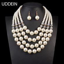 Nigerian Wedding Jewelry Sets Multi layer simulated pearl jewelry Bridal Necklace & Pendant Luxury African Beads Jewelry Sets(China)