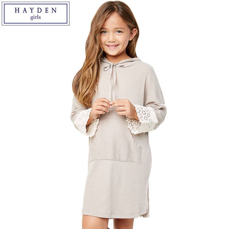 HAYDEN Girls Hooded Dress Kids Full Sleeve Pullover Sweatshirt Dresses Teenagers Casual Pocket Dress Autumn Winter 2017 New batwing sleeve pocket side curved hem textured dress