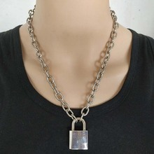 Handmade Men Women Unisex Chain Necklace Heavy Duty Square Lock Pendant Padlock Choker Metal Collar