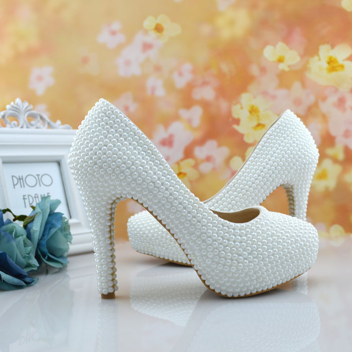 Aesthetic pearl wedding shoes white pearl bridal shoes crystal shoes banquet bridesmaid shoes women pumps 11cm