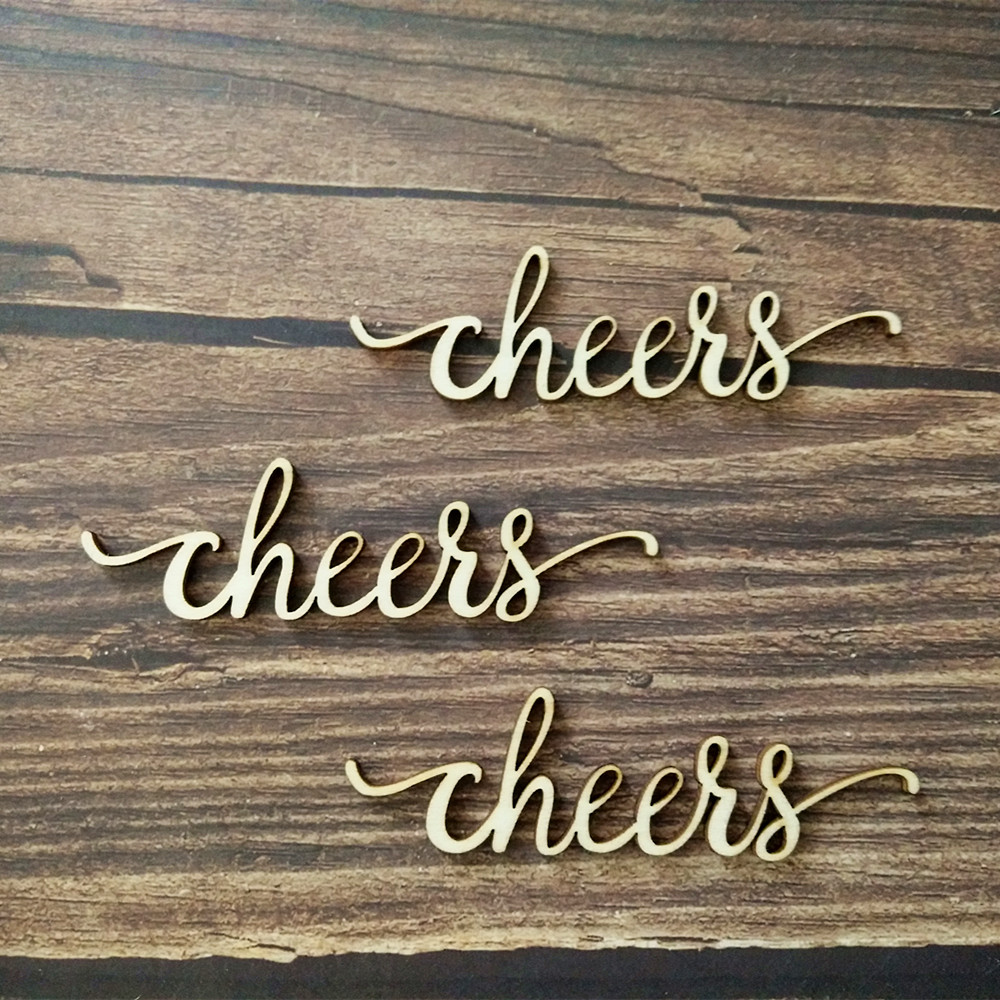 Us 40 10pcs Laser Cut Wood Cheers Script Word Sign Wooden Words Sign Art Rustic Cursive Word Room Decoration Wall Hanging In Figurines Miniatures