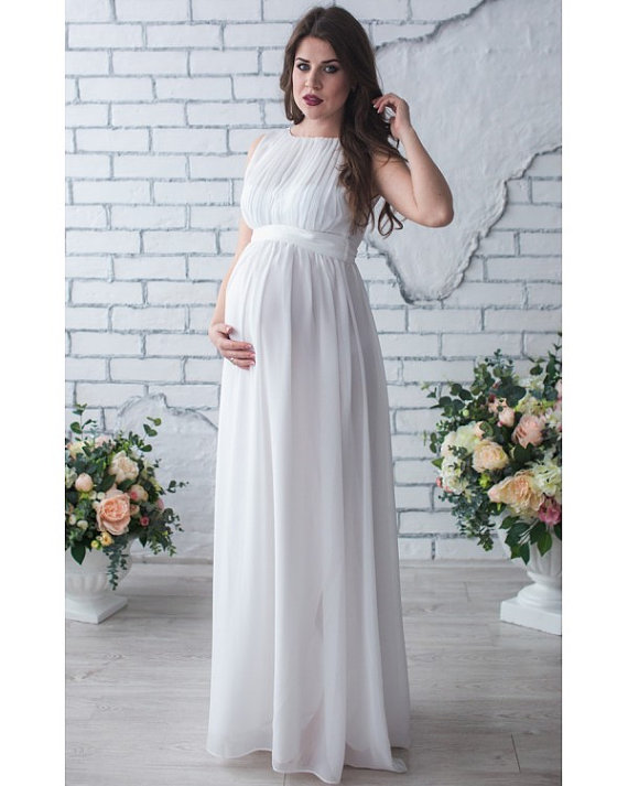 Hot sale white chiffon wedding dress for pregnant women for Wedding dress for pregnant woman