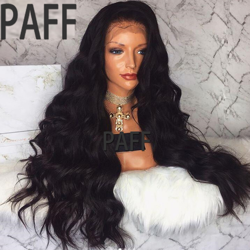 PAFF 250 Density Glueless Lace Front Human Hair Wig Virgin Peruvian Body Wave Wig With Pre