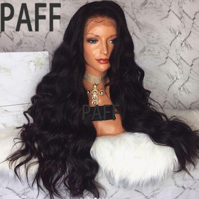 PAFF 250% Densité Sans Colle Avant de Lacet de Cheveux Humains Perruque Vierge Péruvienne corps Vague Perruque Avec Pré Pincées Bébé Cheveux Pour Femmes Noires