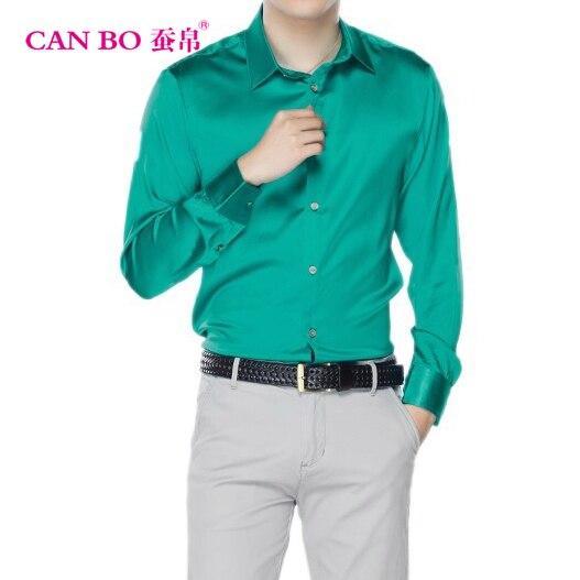 Erkek Kıyafeti'ten Frak Gömlekler'de Büyük boy Saf Renk Erkekler Uzun Kollu Ipek Gömlek, high end Erkekler Iş 98% Ipek Tamir Gömlek 19 m/m ipek 6XL'da  Grup 1
