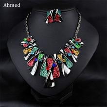 Ahmed богемный сплав модное ожерелье со стразами и серьги набор для женщин новая подвеска Бохо ювелирные изделия