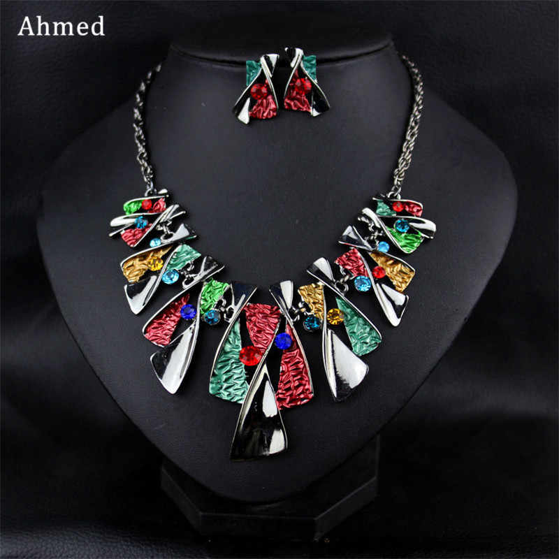 Ahmed Bohemian Alloy Fashion Rhinestone Necklace & Earring Set For Women New Boho Charm Fashion Jewelry