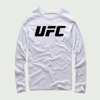 UFC Print T Shirt Ultimate Fighting Championship 100% Cotton Tops Casuals Men Cool Full Long Sleeves Work Out XS 4XL Large Size