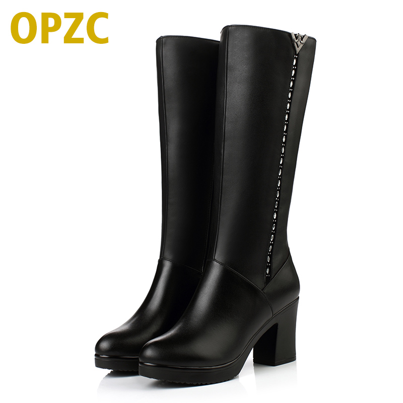 OPZC Shoes Women Winter Boots Genuine Leather boots high-heeled women long boots wool lined warm snow boots Lady Fashion shoes classic winter boots leather shoes leather high heeled boots boots side zipper rose