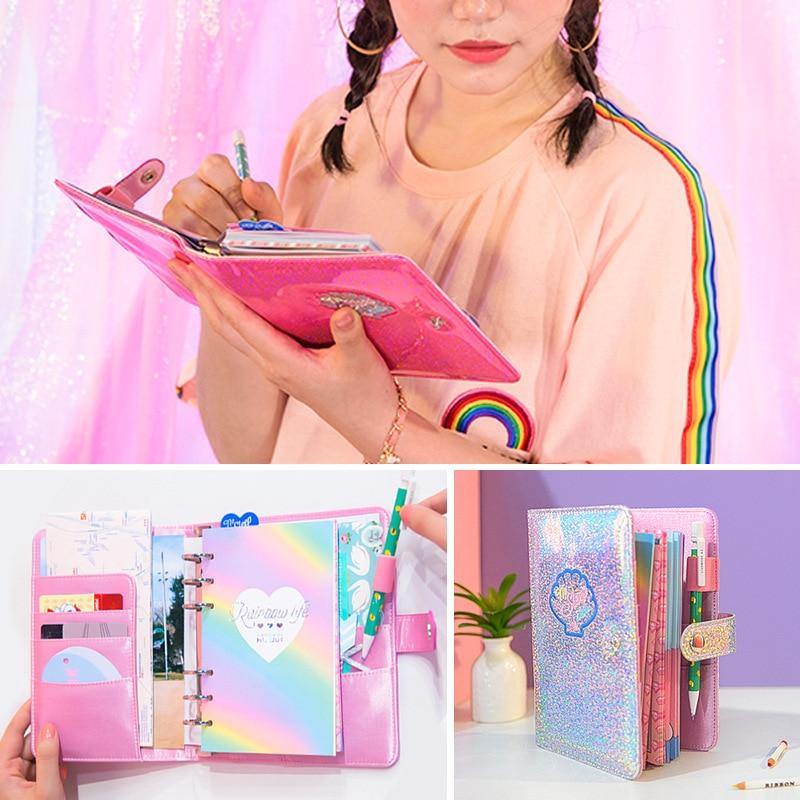 Kawaii A6 Diary Notebook and Bullet Journal Cute Agenda Binder Planner Organizer Ring Weekly Spiral Travel Note Book Handbook