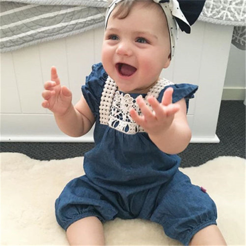 Sleeveless Baby Girls   Rompers   Imitation Jeans Baby Girls Lace Summer Clothing Wear Denim Lace Harem Shorts Jumpsuit